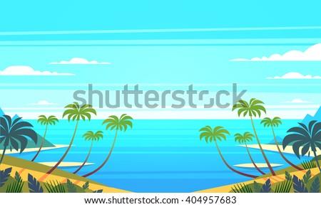 Tropical landscape. Vector illustration. - stock vector