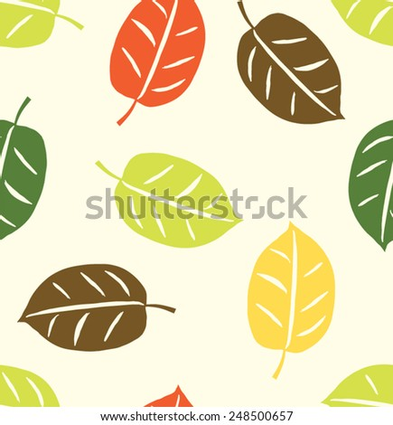 Tropical Leaves Seamless Pattern - stock vector