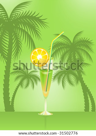 Tropical Martini Glass - Isolated on Green Background - stock vector