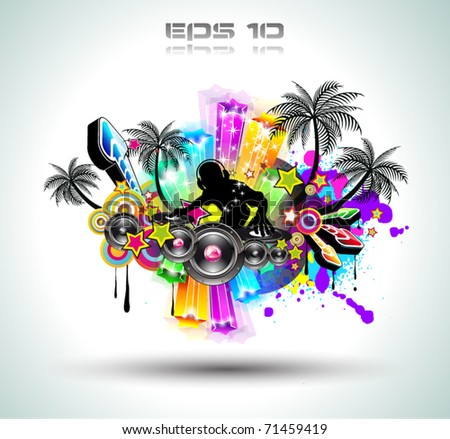 Tropical Music Party Disco Flyer with Exceptional Glow of lights - stock vector