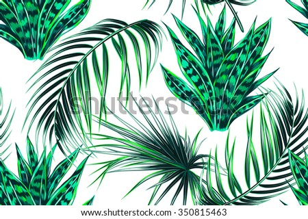 Tropical palm leaves, jungle leaves, plants seamless vector floral pattern background - stock vector