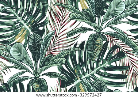 Tropical palm leaves, jungle leaves seamless vector floral pattern background - stock vector