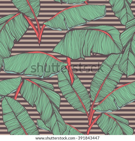 Tropical palm leaves seamless background - stock vector