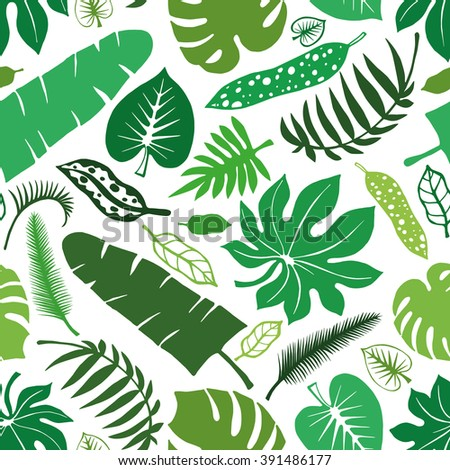 Tropical palm leaves seamless pattern.Vector green leaf Silhouette,summer background .Tropic green leaves.Tree green branches.Exotic graphic illustration,paradise wallpaper,fabric.Plant vector,summer - stock vector