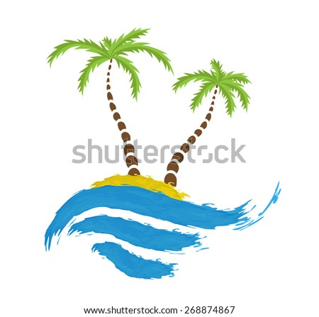 Tropical palm on island with sea. Vector logo. - stock vector