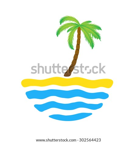 Tropical palm on island with sea. Vector logo illustration. - stock vector