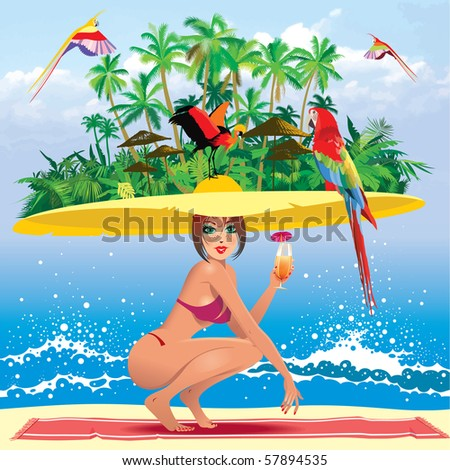 tropical paradise - stock vector