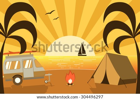 Tropical paradise beach camping scene with family trailer caravan. Palm island campsite place flat landscape with RV traveler truck. Summer vacation concept. - stock vector
