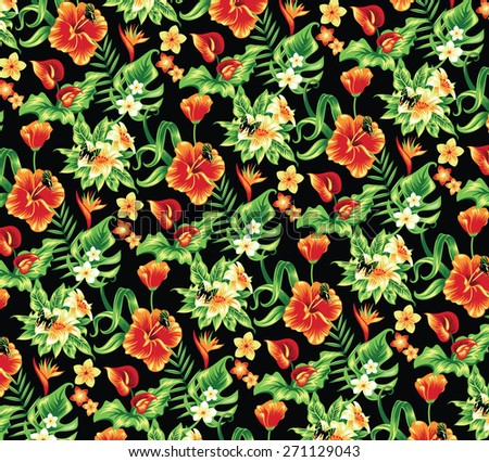 Tropical pattern with flowers and butterflies. - stock vector