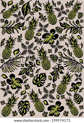 Tropical pattern with leaves and pine apples - stock vector