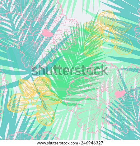 tropical pattern with palm leaves and flowers - stock vector