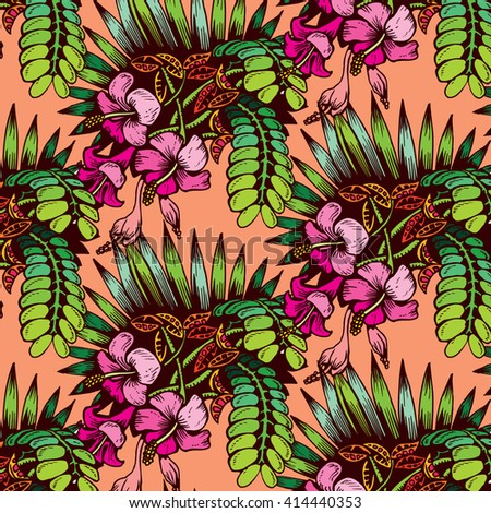 Tropical Plant Pattern - stock vector