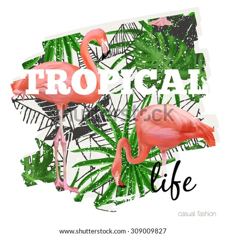 Tropical print with flamingo - stock vector