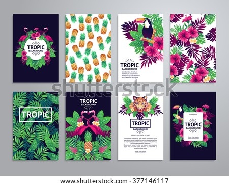 Tropical printable set. Vector cards, notes and banners with toucan, leopard, exotic flowers and fruits. - stock vector