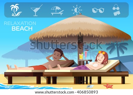 Tropical relax style. Ambiance of the beach. Tourism on the beach. A Couple on the Beaches. Summer holidays. Illustrated books and websites about travel to the sea. Graphic and vector EPS 10. - stock vector