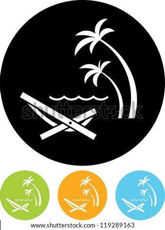 Tropical resort beach. Sunbed Chair - Vector icon isolated - stock vector