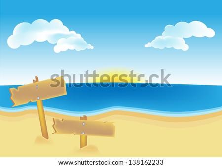 Tropical sand beach and signpost on the beach - stock vector