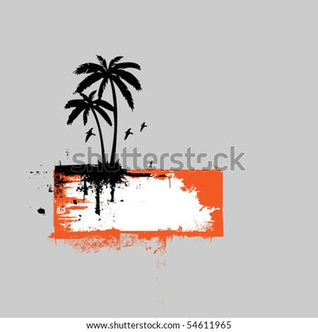 Tropical scene banner - stock vector