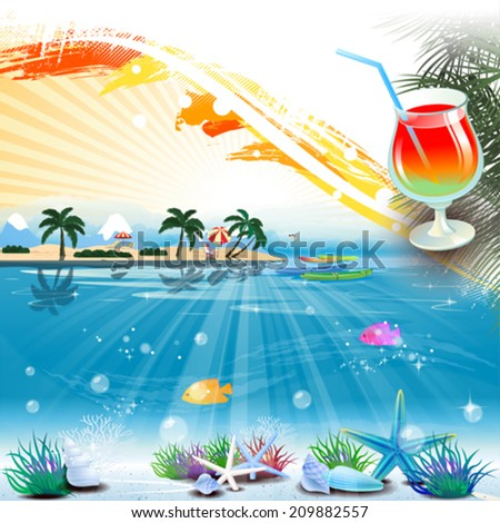 Tropical scene with cocktail and text place - stock vector