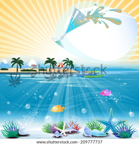 Tropical sea theme background with cocktail and text area - stock vector