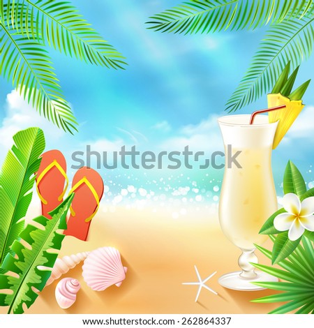 Tropical sea travel background with beach cocktail seashell and slippers vector illustration - stock vector