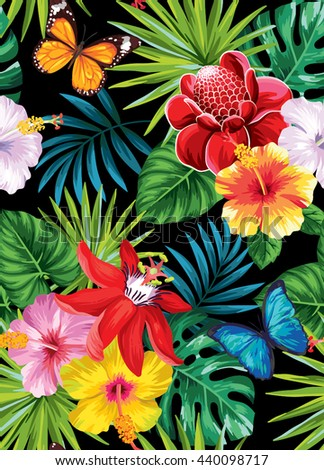 Tropical seamless pattern with palm leaves, flowers and butterflies. Vector illustration. - stock vector
