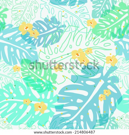 tropical seamless vector pattern - stock vector
