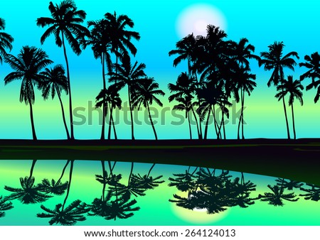 Tropical seashore day with palms sunlight and clear sky. Vector illustration background - stock vector
