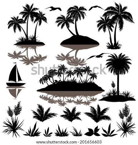 Tropical set, sea island with palm trees, plants, flowers, birds gulls and ship, black silhouettes isolated on white background. Vector - stock vector