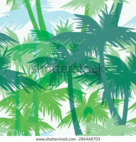 Tropical summer print with palm. Seamless pattern - stock vector
