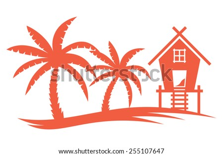Tropical summer vector illustration - Palm tree and  Beach House - stock vector