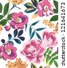 tropical summer vintage flower pattern background - stock vector