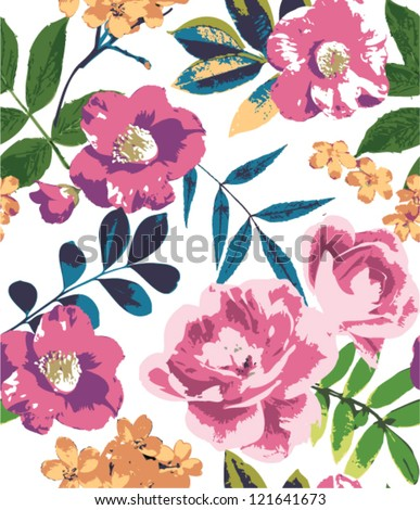 tropical summer vintage flower pattern background - stock vector