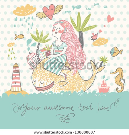 Tropical travel concept card. Summer cartoon background with girl with cocktail under palm on the whale in the sea with lighthouse, sea horse and fish in vector - stock vector