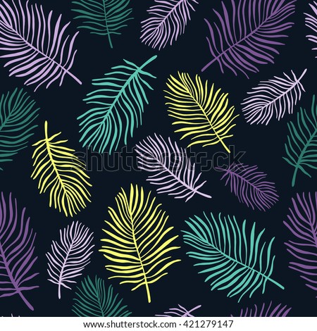 Tropical trendy seamless pattern with exotic palm leaves - stock vector