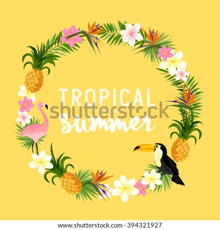 Tropical Wreath. Including, Palms, Toucans, Bird of paradise flowers and pineapples. - stock vector