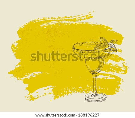 Tropical yellow cocktail with mint on yellow grunge background - stock vector