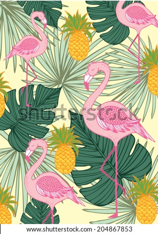 tropics- palm leaf and flamingo and pineapple vector/illustration - stock vector