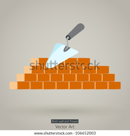 Trowel and brick wall vector icon building design - stock vector
