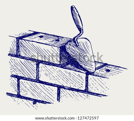Trowel and bricks. Doodle style - stock vector