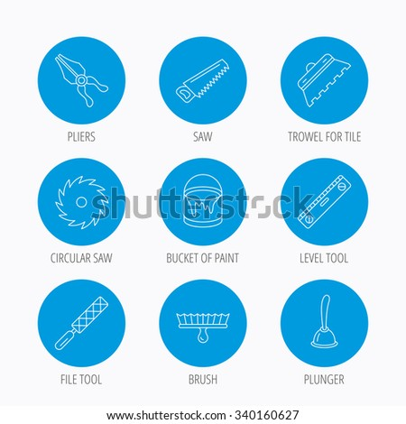 Trowel for tile, saw and brush tool icons. Level and file tool, bucket of paint linear signs. Plunger, pliers icons. Blue circle buttons set. Linear icons. - stock vector