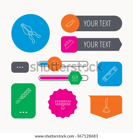 Trowel for tile, saw and brush tool icons. Level and file tool, bucket of paint linear signs. Plunger, pliers icons. Web buttons and app menu navigation. - stock vector