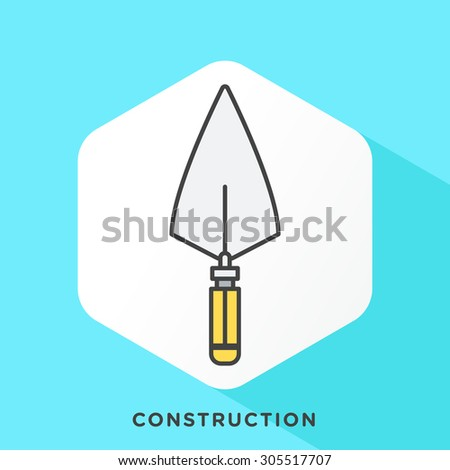 Trowel icon with dark grey outline and offset flat colors. Modern style minimalistic vector illustration for effect interior decorative coating. - stock vector