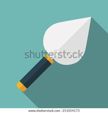 trowel icon with long shadow. flat style vector illustration - stock vector