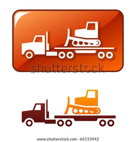 Truck delivers the bulldozer. Vector icon - stock vector