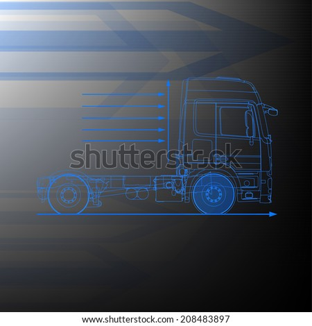 truck drawing - stock vector