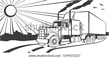 Truck driving on a road, vector - stock vector