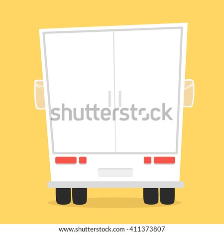 Truck for transportation cargo. Vector illustration. Isolated on yellow background. Cartoon truck. White truck. Delivery of cargo - stock vector
