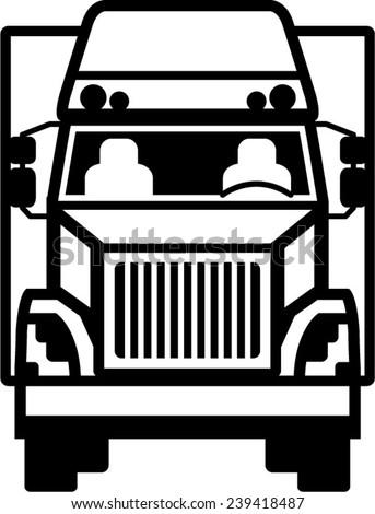 Truck Front black n white - stock vector
