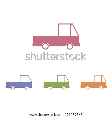 Truck icons vector on white background - stock vector